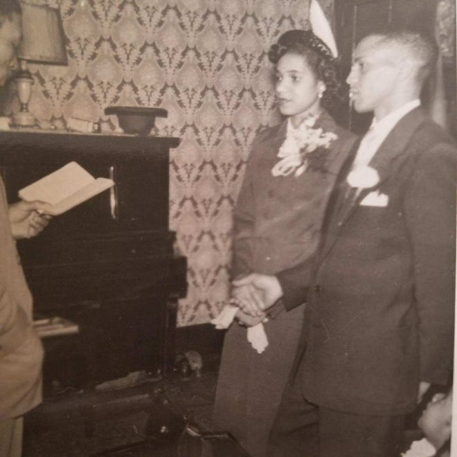 Virginia Bush and William Hall get married May 12, 1951, before the Rev. James Williams at First Baptist Church in Wellsville, Ohio.