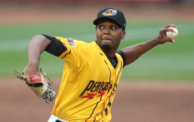 RubberDucks starting pitcher Juan Hillman delivers a pitch against the Binghamton Rumble Ponies in the first inning of their game at Canal Park in Akron on Wednesday May 5, 2021. The RubberDucks beat the Rumble Ponies 4 to 1.