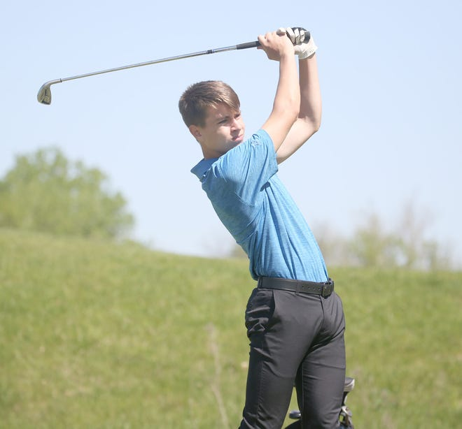 Boonville golfer Austin Rice tees off on No. 17 during the Tri-County Conference Golf Tournament Wednesday at Hail Ridge Golf Course in Boonville. The Boonville Pirates golf team finished eighth overall. Blair Oaks captured the championship while Southern Boone finished second.