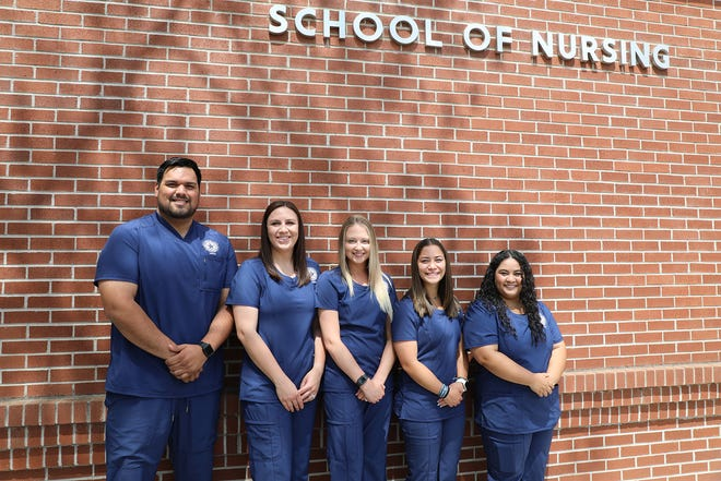 Five students are the first graduates from HPU's School of Nursing. Pictured are Adrian Barrientos of Lewisville; Hanna Crow of Brownwood; Ashley Strong of Brownwood; Kira Teel of San Antonio; and Josie McClung of Brownwood.