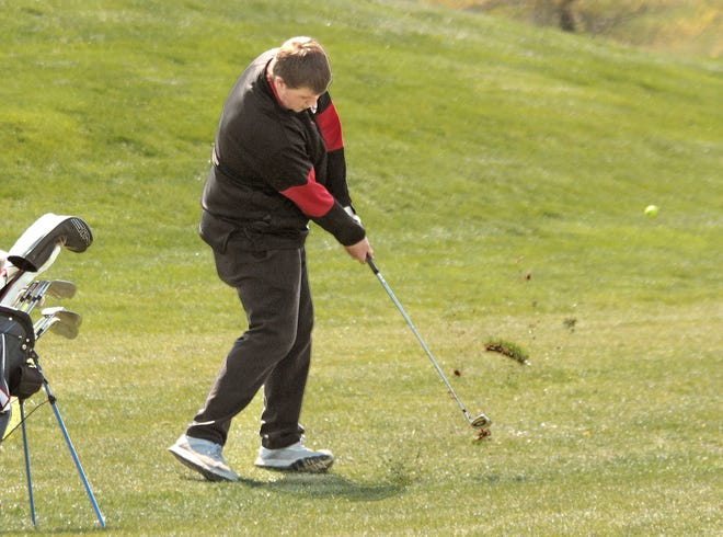 Senior Colby Gillespie of the Chillicothe High School golf Hornets plays a shot from the fairway during the April 22 Chillicothe Invitational Tournament at Green Hills Golf Course. On Tuesday, he was one of three Hornets who shot 43s at GHGC in a dual-match victory over Trenton that completed the CHS golf squad's first undefeated season (in dual matches) since 1978.