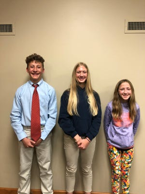 Olive Prindle Chapter of DAR essay winners, left to right, Jack Marshall, Anna Pfaff and Maci Mohr.