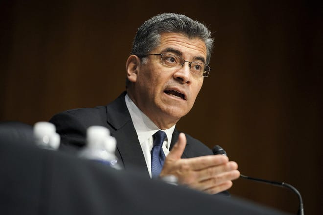 Xavier Becerra testifies in February during his confirmation hearing as Health and Human Services secretary