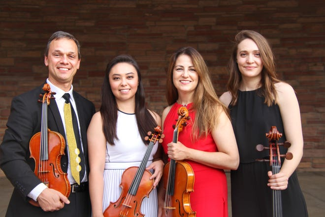 Members of the Carpe Diem String quartet are, from left: violinist Charles Wetherbee, violinist Marisa Ishikawa, violist Korine Fujiwara and cellist Ariana Nelson.