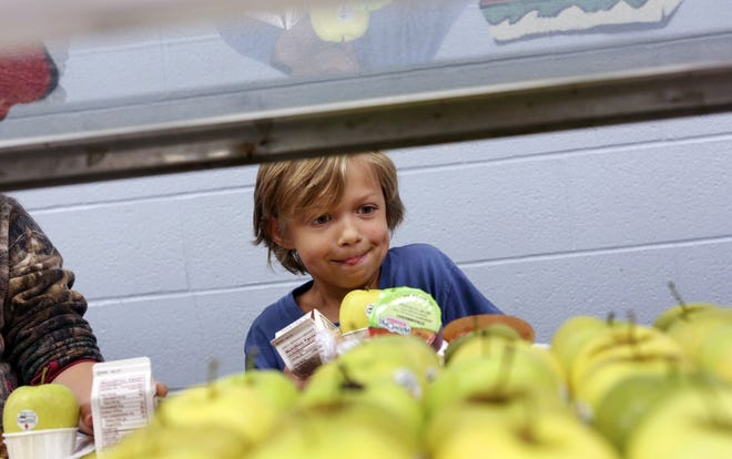 Archive photo: Cash White., then 8, balances his plate during lunch while getting a apple at Mt. Logan Elementary School in Chillicothe June 21, 2017. The Children's Hunger Alliance helped fund a summer program in the southern region of Ohio to help reduce food insecurity.[Eric Albrecht/Dispatch]