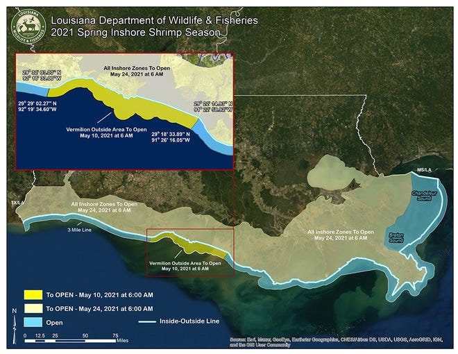A map accompanied the state Wildlife and Fisheries' Commission announcement that inshore brown shrimp season will open across Louisiana's coast at 6 a.m. May 24.