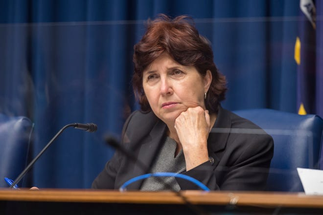 Senate President Pro Tempore Beth Mizell listens during a hearing at the Louisiana State Capitol on April 8 in Baton Rouge. The Senate on Wednesday approved her proposal to ban transgender athletes in Louisiana from competing on girls' sports teams in schools.