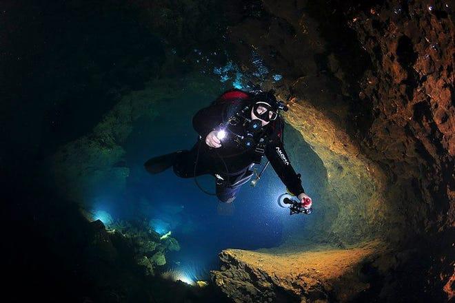 Jim Calvin dives at Manatee Springs.