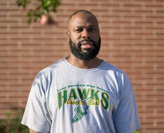 In this 2020 file photo, Maurice Campbell talks after being named track-and-field coach at Lake Minneola. Campbell expressed his displeasure this week with the Florida High School Athletic Association's decision to disqualify several high jumpers from the Class 3A girls state finals including Lake Minneola's Alexis Doll. [PAUL RYAN / CORRESPONDENT]