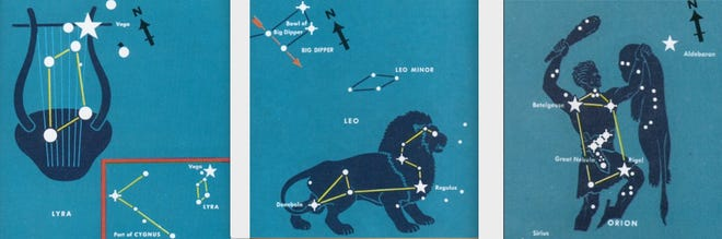 On mid-May evenings, at left, brilliant Vega, in Lyra the Harp, may be seen low in the northeast; Lyra is prominent on summer evenings. Center: Leo the Lion is high in the south. Right: Orion the Hunter is setting, low in the west as darkness falls on mid-May evenings. This famous constellation of winter evenings will soon be hidden in the light of the Sun only to return to pre-dawn skies in early summer. These star charts are not to scale. Lyra is much smaller compared to Leo or Orion. / pachamamatrust.org