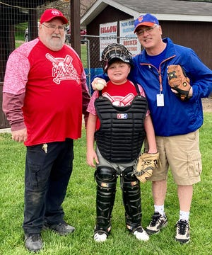The Honesdale Little Baseball Association celebrated Opening Day of the 2021 season. Sports Editor Kevin Edwards had the privilege of throwing out the ceremonial first pitch Monday evening at Fred Reisch Memorial Field. Also pictured are HLBA President Charlie Rollison and HNB Phillies catcher Ethan DeRoss.