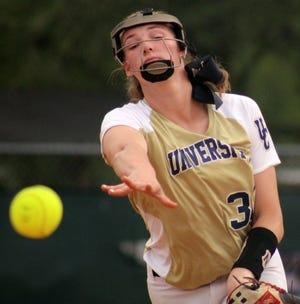 University Christian freshman Sophia Kardatzke delivers a pitch during an FHSAA Class 2A regional softball quarterfinal.