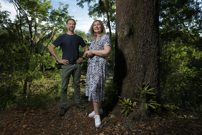 Kevin Blalock and Dana Doody pose at the Jacksonville Arboretum & Botanical Gardens where they are board president and executive director, respectively.