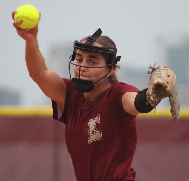 Episcopal senior Maddie Latta delivers a pitch during an FHSAA Class 3A high school softball regional quarterfinal against Baldwin on May 5.