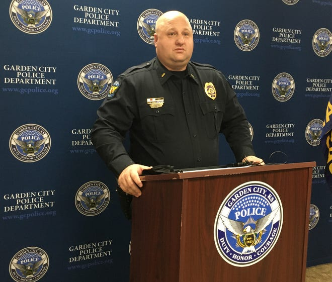 Lt. Jason Chase of the Garden City Police Department speaks about a kidnapping in Garden City Wednesday morning during a news conference Wednesday at the Law Enforcement Center.
