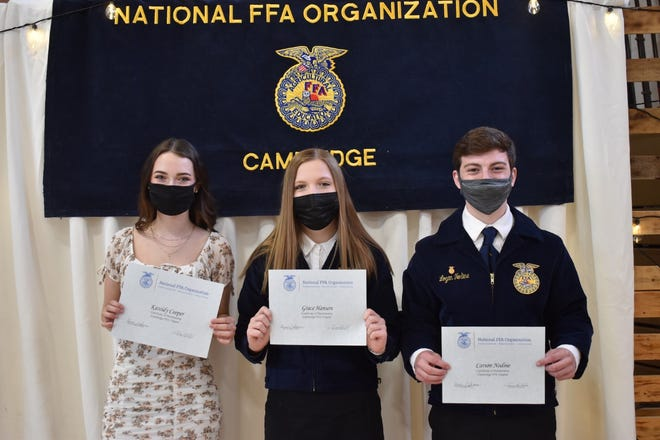 Juniors in Cambridge FFA who earned the Chapter degree in a previous year were presented with certificates on Saturday, April 24. From left, they are Kassidy Cooper, Grace Hanson and Carson Nodine. Not present were Morgan Palmer, Kasey Carey and Kyle Nimrick