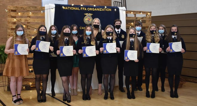 Cambridge FFA students receiving chapter degrees on Saturday, April 24, are, in front from left, Hailey Casteel, Lexi Kessinger, Morgan Bowers, Carmen Stahl, Adah Smutzer, Rachel Stropes, Brooklyn Humphrey and Kendra Downing, and in back, Larissa Swanson, Zoey Larson, Paige Leander, Jake Johnson, Kaden Larson and Ella Jeffries. Downing was named STAR Chapter member