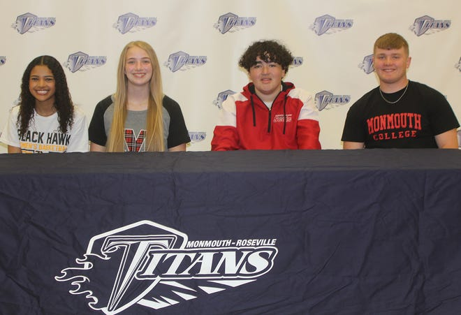 From left, Monmouth-Roseville seniors  Kelci Shelton, Bethany Allen, DJ Reading and Carter Russell will continue their athletic careers.