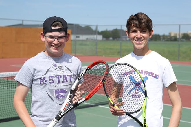 Trinity Catholic's Connor Harcrow (left) and Anthony Clennan (right) won last weekend's league tournament in the No. 1 doubles.