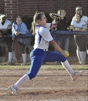DeRidder sophomore Emma Barbee fires a pitch toward home during action earlier this year. Barbee, along with six teammates, were named first-team all-district by the coaches in 3-4A.