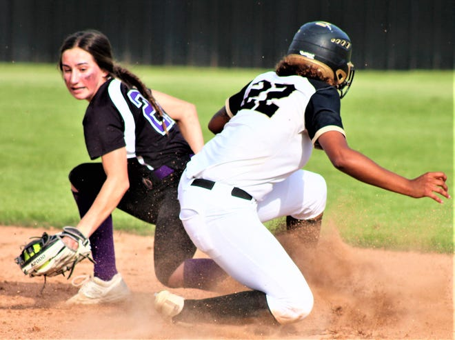 Leesville junior Amaya Thomas (22) slides safely into second base during the Lady Cats' first-round playoff win a few weeks ago. Thomas was one of three Lady Cats named first-team all-district in 3-4A.