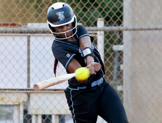 Lake Region's Armani Wright rips a two-run single in the Thunder's 13-run first inning against Tampa Chamberlain on Wednesday night in the Class 4A, Region 3 quarterfinals.