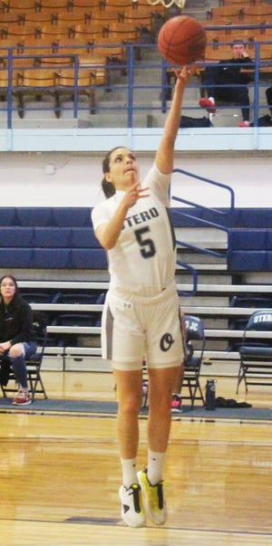 Otero Junior College's Emma Florez-Pascual drive for a layup against Northeastern JUnior College in March. Florez-Pascual was named a third team NJCAA All-American.