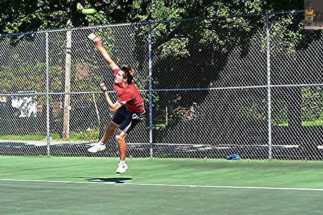 Shown is 2020 Leavenworth City Tennis Tournament men's singles champion Alex Sherer.
