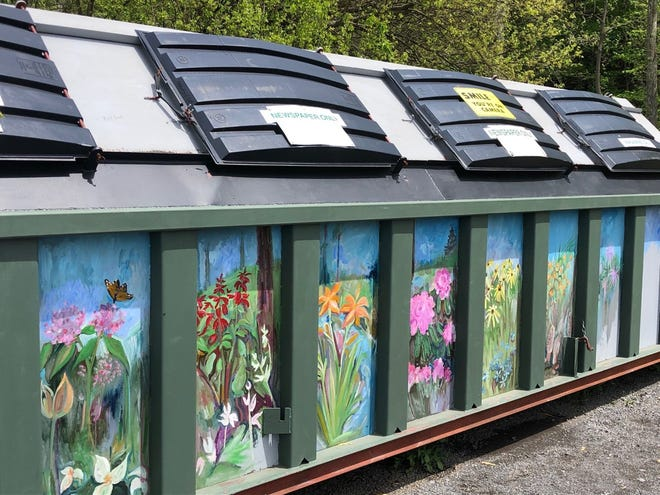 This new recycling bin, painted by local artist Alison Bunting, is now in use at the youth practice field on Harley O. Staggers Drive.