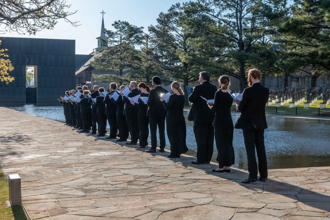 """Singers with Canterbury Voices are filmed performing at the Oklahoma City National Memorial as part of the reimagining of the chorus' world-premiere piece """"Of Perpetual Solace."""""""