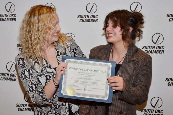 Samantha Wilkins, at right, was recently recognized as the 2021 Student of the Year by the South Oklahoma City Chamber of Commerce. Pictured at left is Mackenzie Reeves, 2020 Student of the Year.