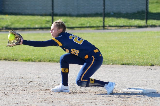 Gaylord's Jayden Jones brings a ball into her glove at second base from home plate during game two against Petoskey.