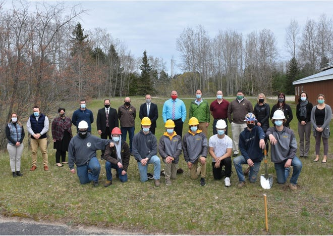 Pictured are construction trades students from Pellston High School, Char-Em ISD staff, and representatives from Pellston schools and Northwest Michigan Works! The group gathered for a recent groundbreaking ceremony at the site of the new building, which will be located at Pellston Public Schools property near the high school.