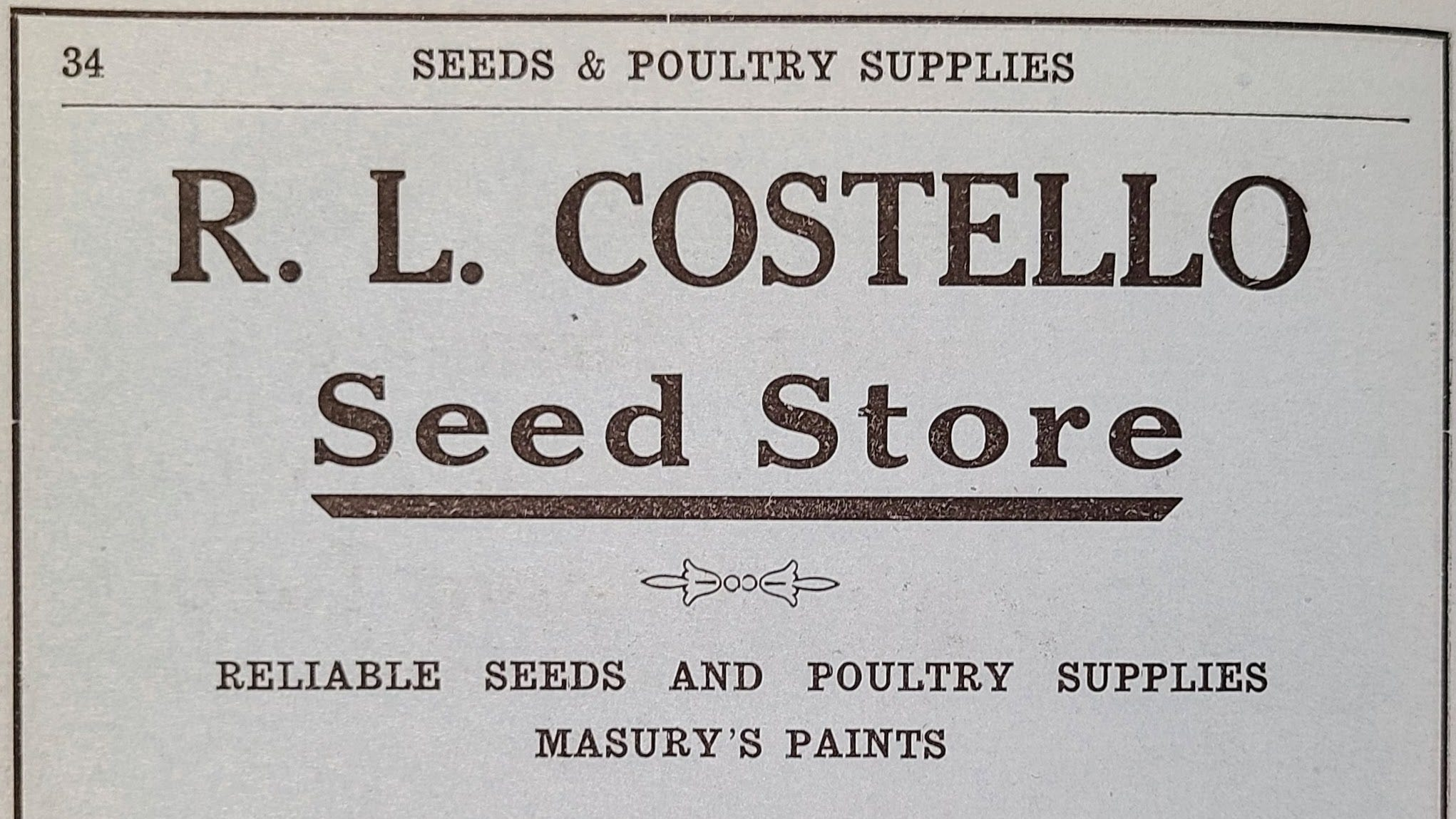 Ad for R. L. Costello's Seed Store on Market Street as seen in the 1920 Portsmouth City Directory. After declaring bankruptcy in 1932, Raphael Costello was hired as the supervisor of Portsmouth's subsistence gardens program.