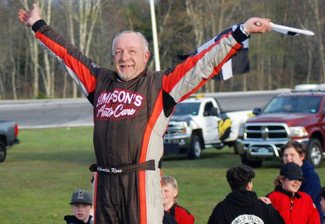 Charlie Rose celebrates in victory lane after his win on Saturday at Star Speedway.