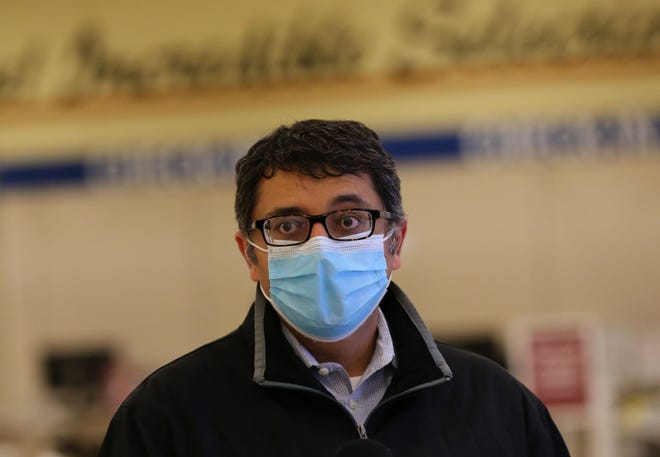 Maine CDC Director Nirav Shah shares the information that walk-in opportunities are available in the state for the COVID vaccine. Shah spoke at the MaineHealth clinic in Sanford Thursday.
