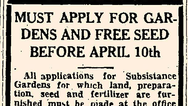 Notice regarding the April 10th deadline for applying for seeds and fertilizer as it appeared in the Portsmouth Herald on April 5, 1934.