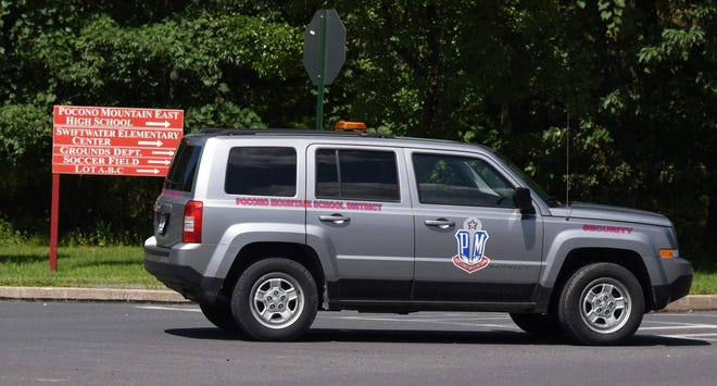 A Pocono Mountain School District security vehicle parked at the East Campus in Swiftwater.