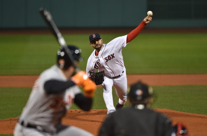 Red Sox starter Martin Perez pitches to a Detroit Tigers batter during the first inning Wednesday night at Fenway Park.