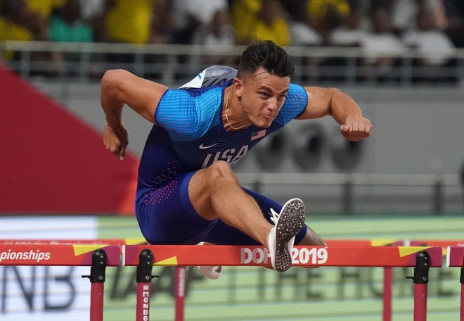 Devon Allen, seen here in heat of the 2019 World Championships in Doha, Qatar, will be back at Hayward Field on Friday at the Oregon Twilight.