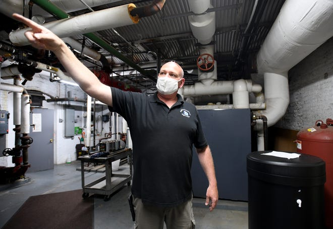 Carroll County Building Maintenance Supervisor Ed Eick in the basement of the Carroll County Jail.