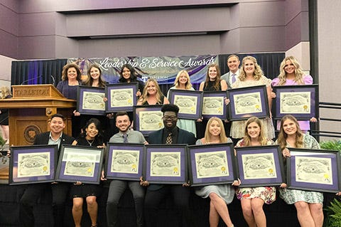 Winners of the annual Leadership and Service Awards were named recently in ceremonies at Tarleton State University. Honorees for the John Tarleton Spirit Award are, back row, left to right: Dr. Kelli C. Styron, Emily Kahler, Daisy Cardona, Kelsey Dvorak, Athena Orsa, Brylee Beall, Dr. James Hurley, Kendall Lisle and Hannah Bahlmann, Font row left to right are: Daniel Mendoza, Sandra Nava, Carter Prichard, Adrian Manning, Patricia McMillian, Jacquelyn Brewer and Dakota Overall. Not pictured is Anabelle Sherrill.