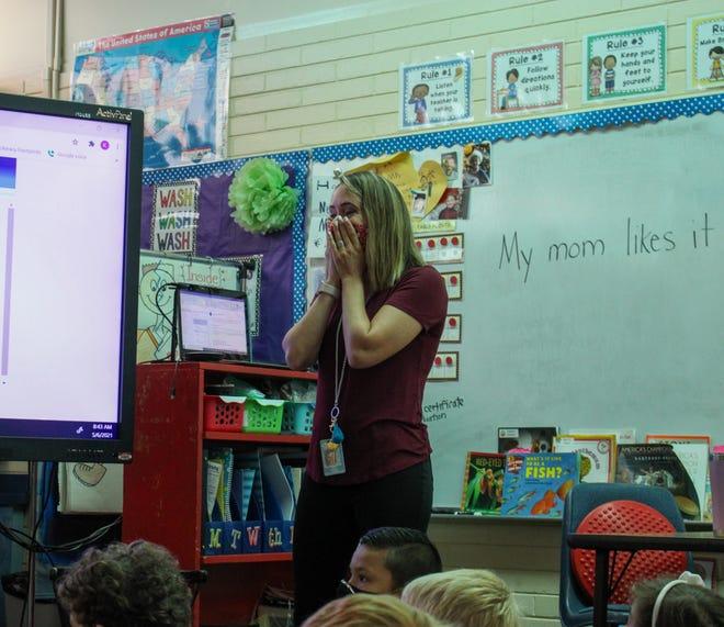 Fruitville Elementary School kindergarten teacher Kari Johnson is surprised Thursday morning with the news that she is a finalist for Florida Teacher of the Year.