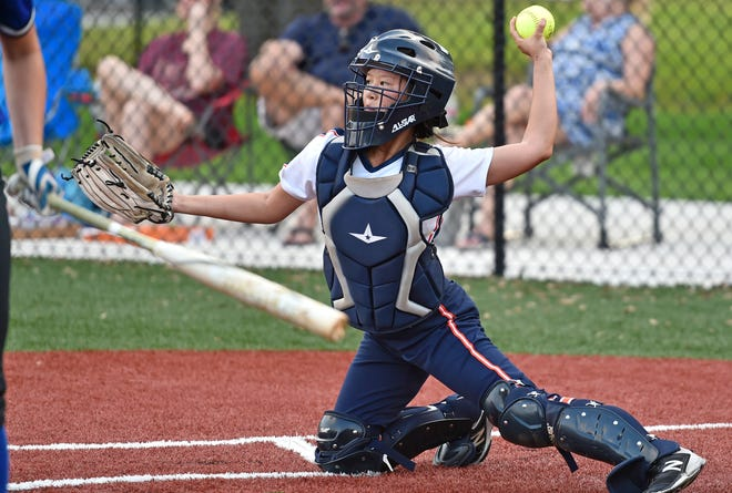 Bradenton Christian's Sunnie Woske catching during the game against the Community School of Naples in the Class 2A-Region 3 quarterfinals Tuesday night in Bradenton. Woske a senior, reached on an infield single that led to the winning run being scored in the Panthers' wild 11-10 victory.