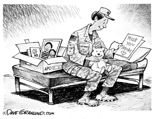 A deployed mom opens her care package in this cartoon for Mother's Day.