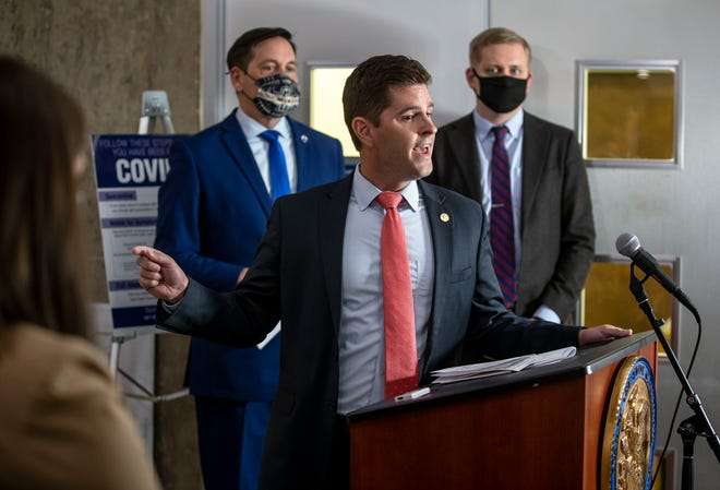 Illinois State Rep. Ryan Spain, R-Peoria, expresses frustrations that Illinois House Democrats are drawing new legislative district maps behind a locked door and in secret during a press conference in the Stratton Building in Springfield, Ill., Thursday, May 6, 2021. [Justin L. Fowler/The State Journal-Register]