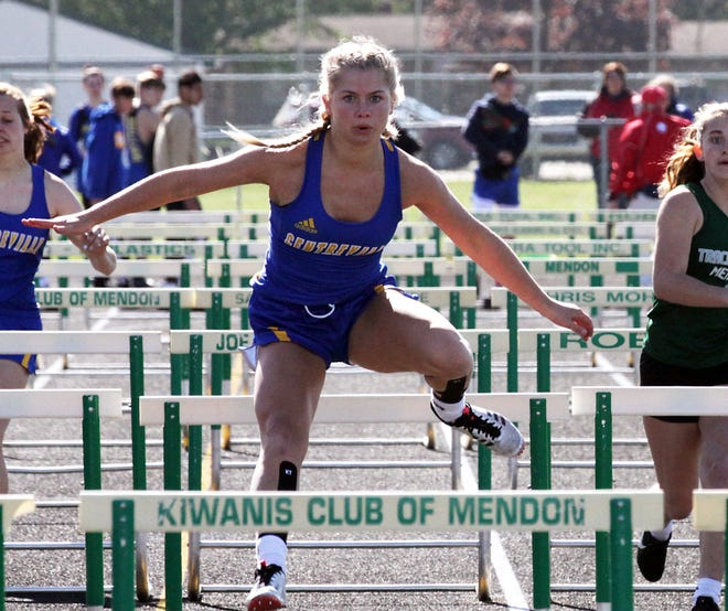Gabrielle Bowen of Centreville took first place in the 100 hurdles on Wednesday in Mendon.