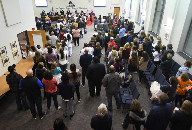 A large crowd attended the New Hanover County Board of Education meeting at the Board of Education Center in Wilmington, N.C, in December of 2019.