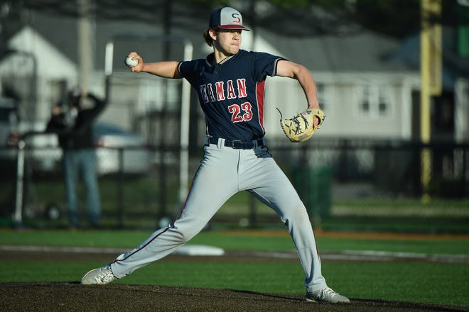 Brady Stuewe threw four innings of scoreless relief to help Seaman to a 2-0 win over Shawnee Heights on Tuesday at Bettis Family Sports Complex.