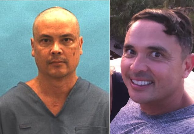 On the right, Paul O. Reinhart, 46, of Gainesville, Florida, is seen in this selfie he posted to his Facebook account on Sept. 13, 2019. Reinhart is suspected of killing his two young sons and himself on May 4, 2021, in his family's burning vacation home near Suwannee, Florida. On the left is Reinhart's older brother, Erick Von Reinhart, 49, as seen in this undated prison photograph from the Florida Department of Corrections after he was sent to prison in December 2018. Erick Reinhart pleaded guilty in November 2018 to second-degree murder in Pasco County, Florida, in the stabbing of his ex-wife's new boyfriend.